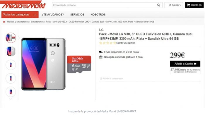 Mediamarkt y el caso del LG V30 de299€